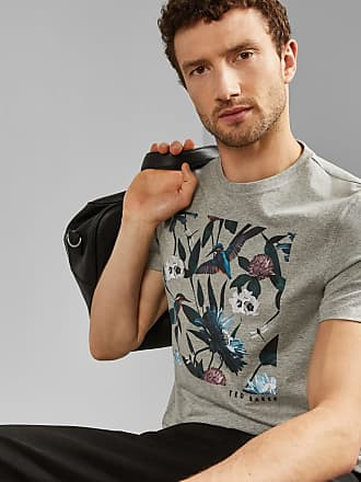 Ted Baker Bird Graphic Cotton T-shirt in Grey Marl LITALL, Mens Clothing