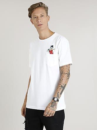 Disney Camiseta Masculina Tio Patinhas com Bolso Manga Curta Gola Careca Off White
