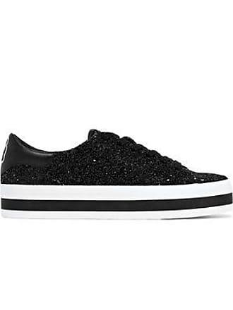 25ab1a7b98bc Alice   Olivia Alice + Olivia Woman Ezra Appliquéd Glittered Leather Platform  Sneakers Black Size 37.5