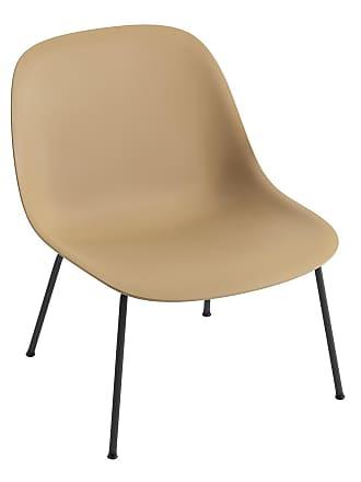 MUUTO Fiber Lounge Stuhl Stahlgestell - ocker/schwarz/Sitzschale Kunststoff/Gestell Stahlgestell schwarz/BxHxT 60x74,4x69cm