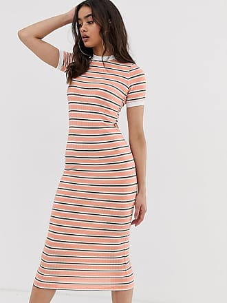 56670fdb483127 Boohoo exclusive ribbed midi dress with short sleeves in pink stripe