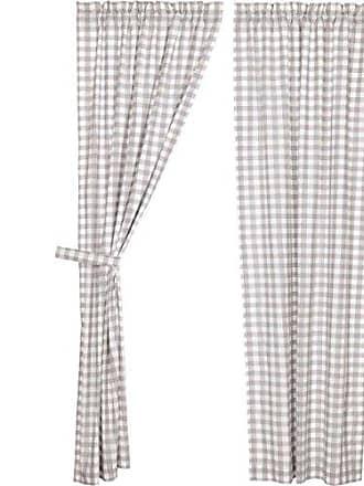 VHC Brands Farmhouse Window Annie Buffalo Check White Lined Curtain Panel Pair, Grey