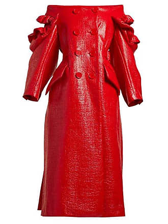 Simone Rocha Off The Shoulder Patent Double Breasted Coat - Womens - Red