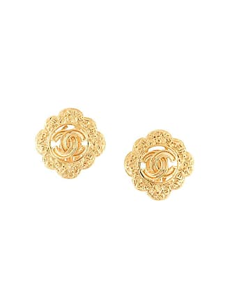 Chanel cut-out CC flower earrings - Gold