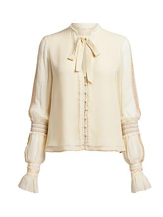 Jonathan Simkhai Chiffon Smocking Long Sleeve Blouse White
