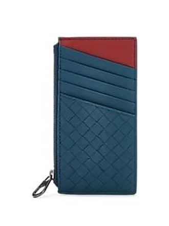 9c1732dcd71d Bottega Veneta Mens Intrecciato Leather Zip Card Case - Blue