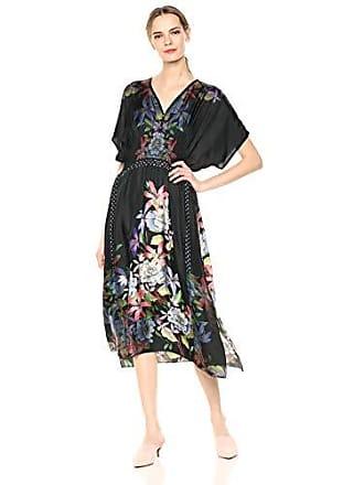 Johnny Was Womens V-Neck Patterned Midi Dress, Black/Multi, XL