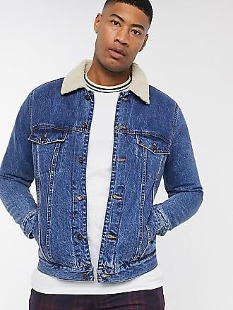 Topman Big & Tall - Blaue Jeansjacke mit Kragen in Lammfelloptik