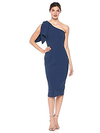 4f85f5c6801add Dress The Population Womens Tiffany ONE Shoulder Bow Detail MIDI Sheath  Dress, Pacific, m