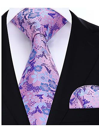 Hisdern Floral Paisley Wedding Party Tie Handkerchief Mens Necktie & Pocket Square Set Purple