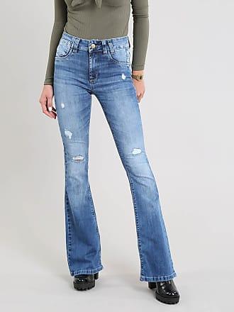 Sawary Calça Jeans Feminina Sawary Flare com Rasgos Azul Médio