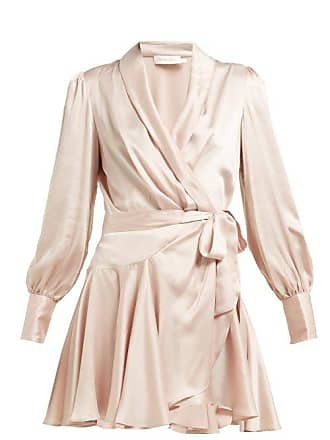 Zimmermann Silk Satin Wrap Dress - Womens - Pink