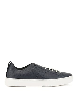 BOSS Tennis-style sneakers in tumbled calf leather