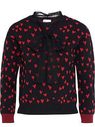 Red Valentino Redvalentino Woman Point Desprit-trimmed Jacquard-knit Top Black Size M