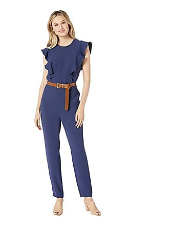 c46bfb45409b Michael Kors Belted Ruffle Jumpsuit (True Navy) Womens Jumpsuit   Rompers  One Piece