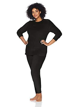Fruit Of The Loom Womens Regular Stretch Fleece Thermal Set, Black 1XL