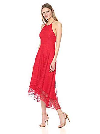 Jenny Yoo Womens Penelope Cross Back High-Low Lace Dress, Cherry, 2