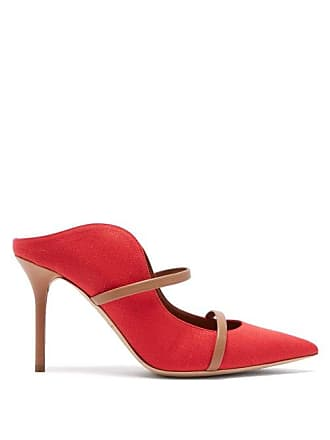 Malone Souliers Maureen Linen And Leather Mules - Womens - Red