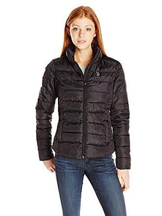 U.S.Polo Association Womens Juniors Puffer Jacket, Black, L