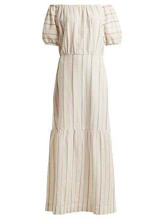 Ace & Jig Quince Off The Shoulder Striped Cotton Dress - Womens - White Stripe