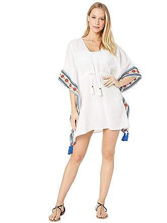 31425eb2 Tory Burch Ravena Embroidered Beach Caftan Cover-Up (White) Womens Swimwear