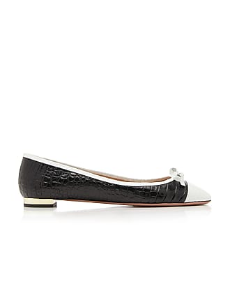 e0cb47d0e Aquazzura Moss Two-Tone Croc-Effect Leather Ballet Flats