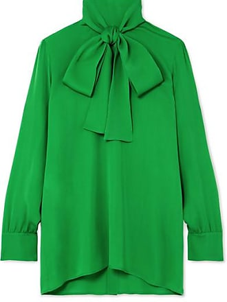 80bfb40a3f7 Gucci Pussy-bow Silk-georgette Blouse - Green