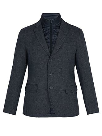 Herno Quilted Insert Single Breasted Wool Blend Jacket - Mens - Navy
