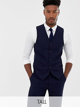 Gianni Feraud Tall - Gilet slim in misto lana blu navy con motivo a spina di pesce grande