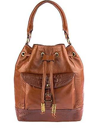 Andrea Vinci Bolsa saco com bolso em couro legítimo whisky