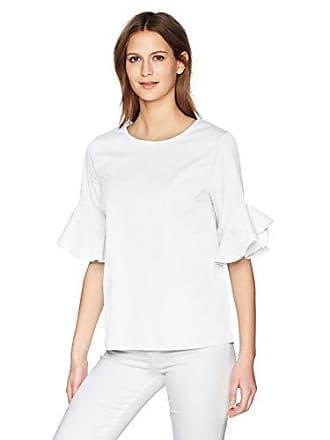 Calvin Klein Womens Short Ruffle Sleeve Blouse, Soft White, S