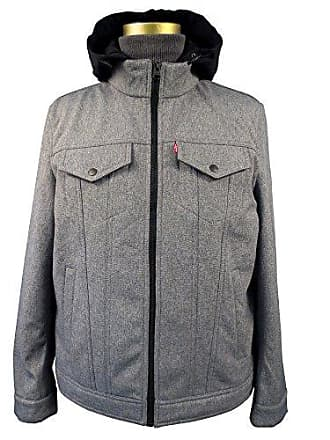 Levi's Mens Soft Shell/ Stand Collar Hooded Trucker Jacket, Heather Grey, SMALL