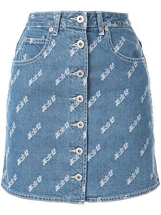 Ground-Zero buttoned front denim skirt - Azul