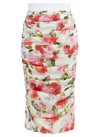 a37f18c8bc2479 Dolce & Gabbana Peony Print Silk Blend Crepe Pencil Skirt - Womens - White  Multi