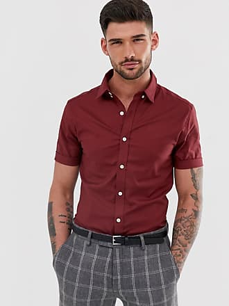 New Look oxford shirt in muscle fit in burgundy - Red
