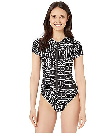 11d3e428a6a236 Michael Kors All Over Logo Cut Out High Neck Zipper Front One-Piece with  Removeable