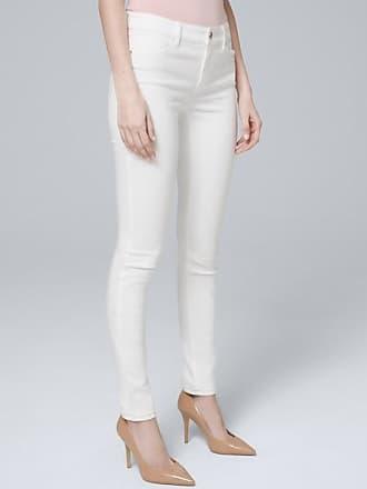 White House Black Market Womens Mid-Rise Essential Slim Jeans by White House Black Market, White, Size 14 - Short