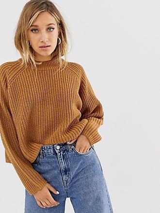 Weekday Übergroßer, gerippter Pullover in Braun