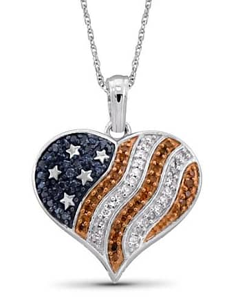 JewelersClub JewelersClub 1/4 Carat T.W. Multi-Color Diamond Sterling Silver American Flag Heart Pendant, 18