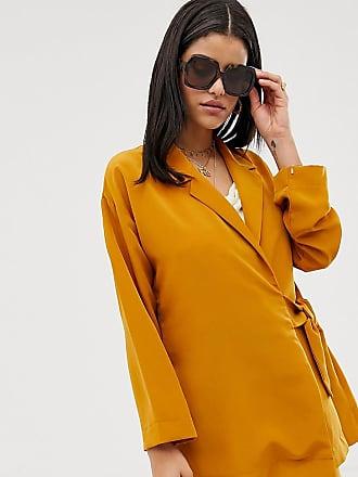 Y.A.S. Tall mustard side tie blazer-Yellow