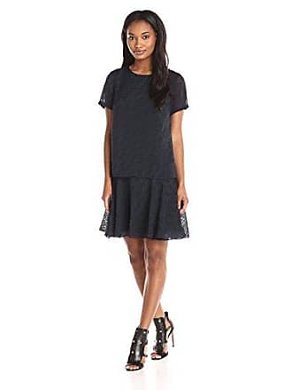 Donna Morgan Womens Short Sleeve Burnout Organza Two-Fer, Midnight 14