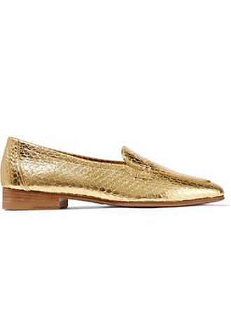 f99b16caf3c The Row The Row Woman Metallic Snake-effect Leather Loafers Gold Size 39