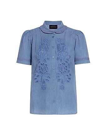 Needle & Thread Floral Cutwork Embroidery Denim Shirt Denim Blue
