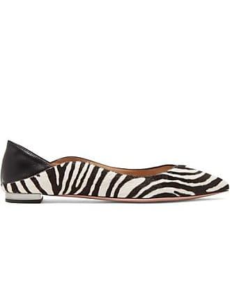1a37ecf41646 Aquazzura Zen Zebra-print Calf Hair Collapsible-heel Point-toe Flats - Zebra