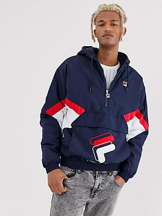 ea5348fb224e Fila Samuel 1/2 zip colour block panel overhead jacket in navy
