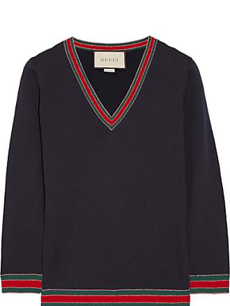f20bcfcda4b791 Gucci Striped Wool Sweater - Navy