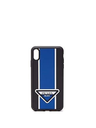 Prada Logo Stripe Iphone Xs Max Rubber Phone Case - Mens - Blue