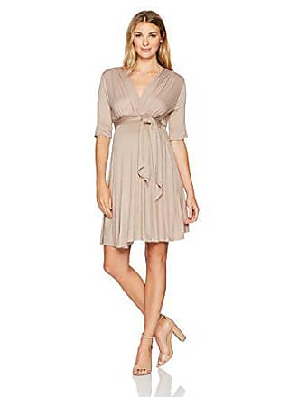 1453a7bf73ee8 Maternal America Womens Mini Front Tie Maternity Dress, Taupe S
