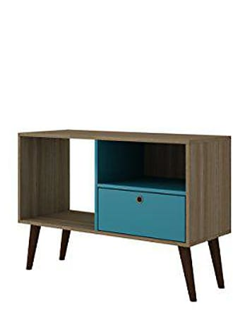 Manhattan Comfort Bromma Collection Mid Century Modern TV Stand With Open Cubby Space and One Drawer With Splayed Legs, Wood/Teal