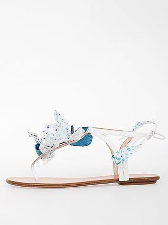 Aquazzura Sandalo In Pelle con Fiori taglia 38 d25ccf4ba46